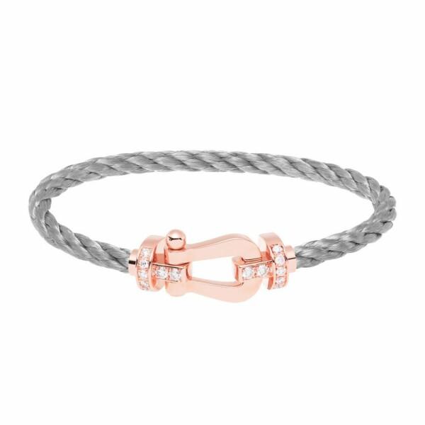 Bracelet FRED Force 10 grand modèle manille en or rose, diamants et câble en cuir
