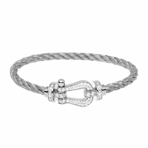 Bracelet FRED Force 10 grand modèle manille en or blanc, diamants et câble en acier