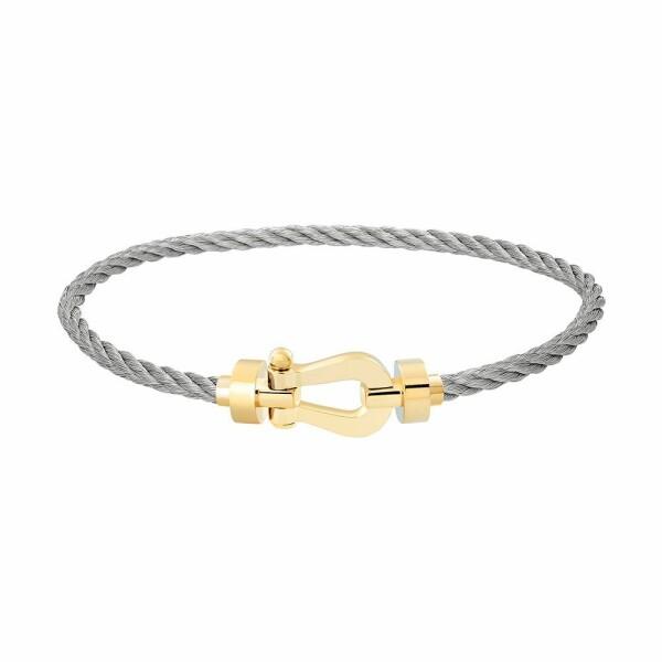 Bracelet FRED Force 10 moyen modèle manille en or jaune et câble en acier