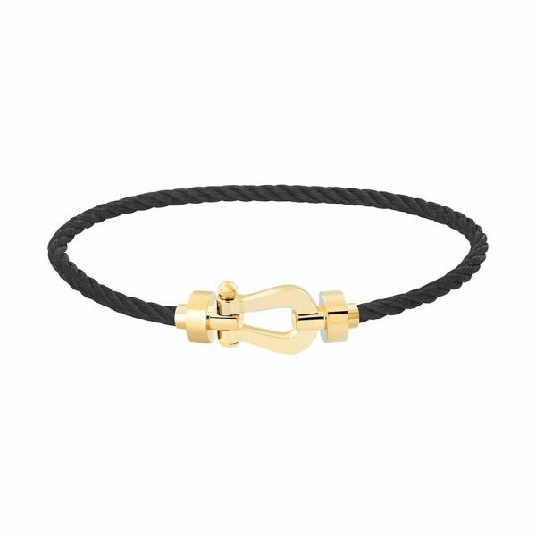 Bracelet FRED Force 10 moyen modèle manille en or jaune et câble en acier noir