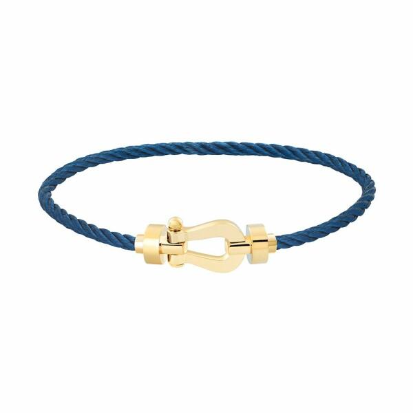 Bracelet FRED Force 10 moyen modèle manille en or jaune et câble en acier bleu marine