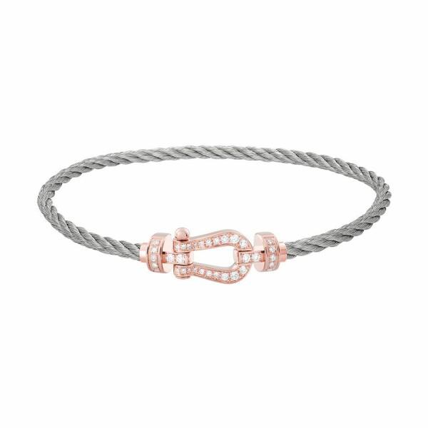 Bracelet FRED Force 10 moyen modèle manille en or rose, diamants et câble en acier