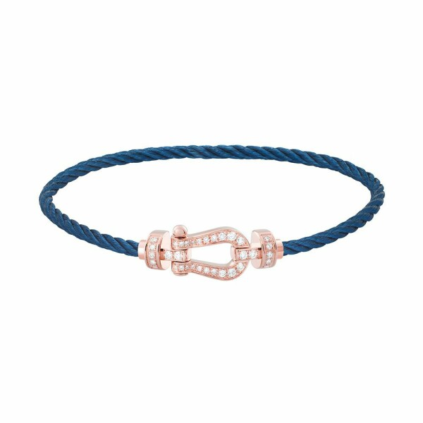 Bracelet FRED Force 10 moyen modèle manille en or rose, diamants et câble en acier bleu marine