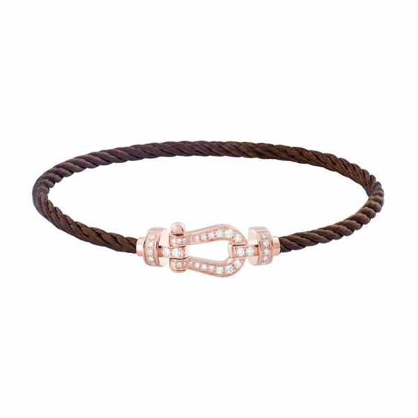 Bracelet FRED Force 10 moyen modèle manille en or rose, diamants et câble en acier chocolat