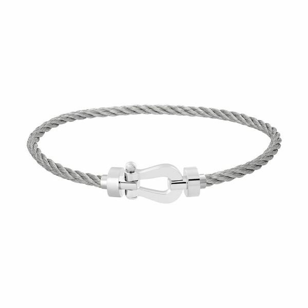 Bracelet FRED Force 10 moyen modèle manille en or blanc et câble en acier