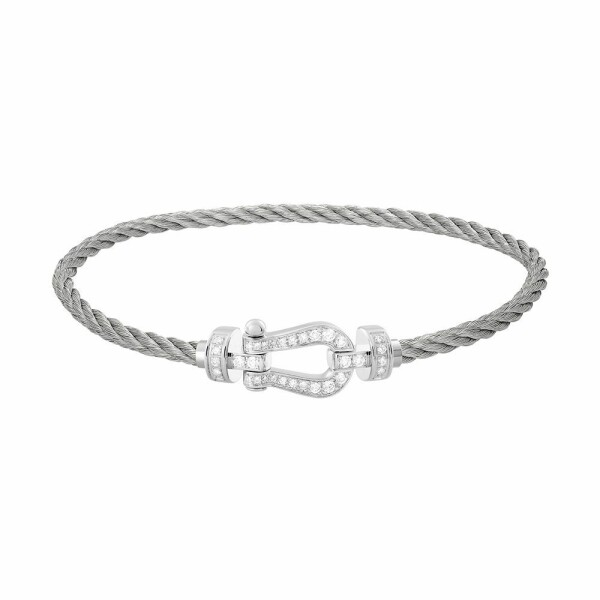 Bracelet FRED Force 10 moyen modèle manille en or blanc, diamants et câble en acier