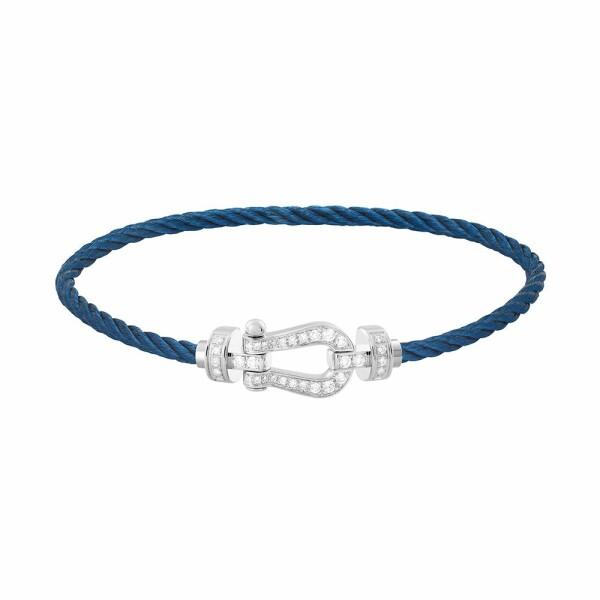 Bracelet FRED Force 10 moyen modèle manille en or blanc, diamants et câble en acier bleu marine