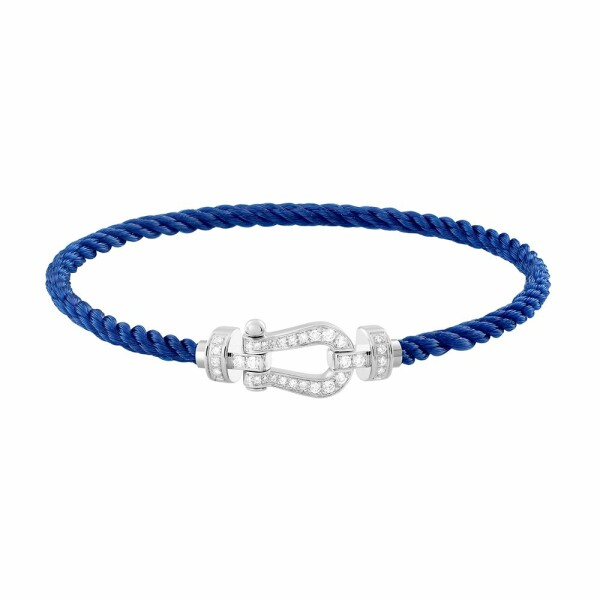 Bracelet FRED Force 10 moyen modèle manille en or blanc, diamants et câble en corderie bleu indigo
