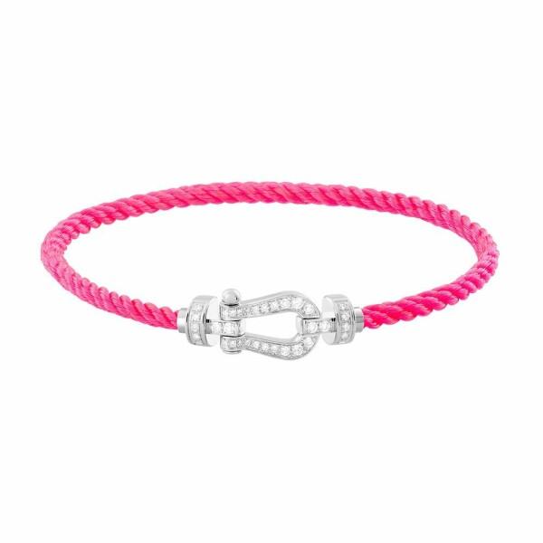 Bracelet FRED Force 10 moyen modèle manille en or blanc, diamants et câble en corderie rose fluo