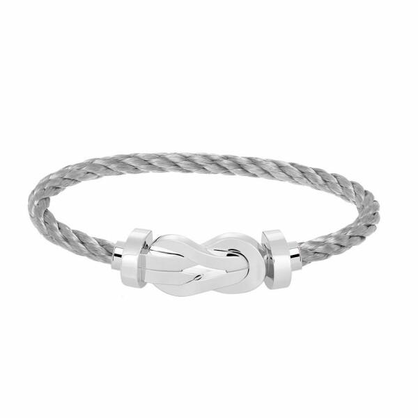 Bracelet FRED 8°0 grand modèle boucle en or blanc et câble en acier
