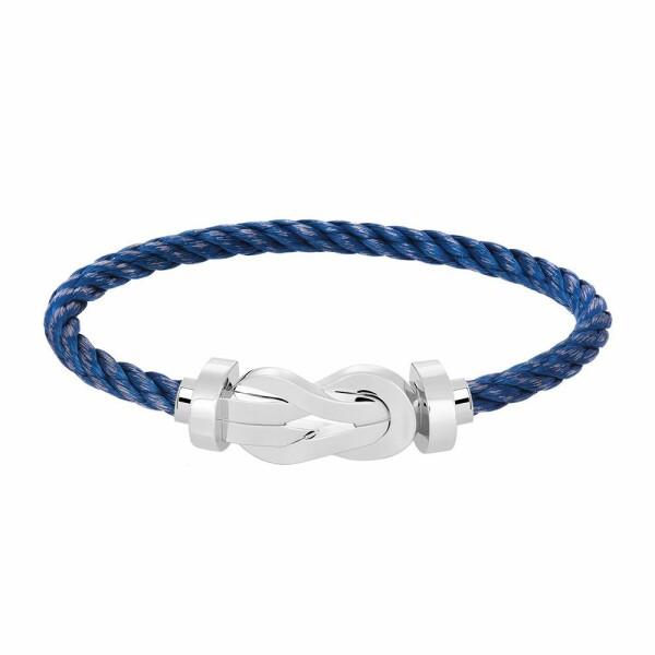 Bracelet FRED 8°0 grand modèle boucle en or blanc et câble en acier bleu jean