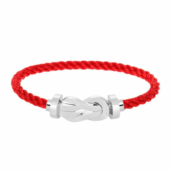 Bracelet FRED 8°0 grand modèle boucle en or blanc et câble en corderie rouge