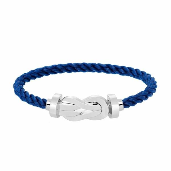 Bracelet FRED 8°0 grand modèle boucle en or blanc et câble en corderie bleu indigo