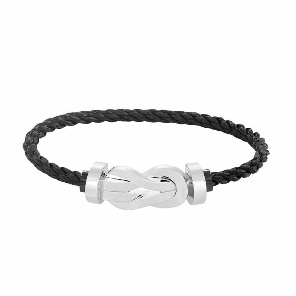 Bracelet FRED 8°0 grand modèle boucle en or blanc et câble en acier noir