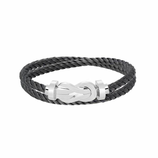Bracelet FRED 8°0 grand modèle boucle en or blanc et câble en acier gris orage