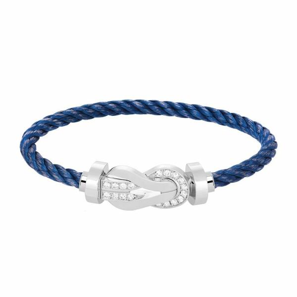Bracelet FRED 8°0 grand modèle boucle en or blanc, diamants et câble en acier bleu jean