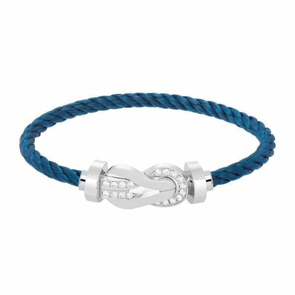 Bracelet FRED 8°0 grand modèle boucle en or blanc, diamants et câble en acier bleu marine