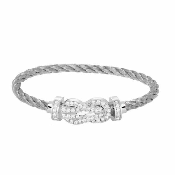 Bracelet FRED 8°0 grand modèle boucle en or blanc, diamants et câble en acier
