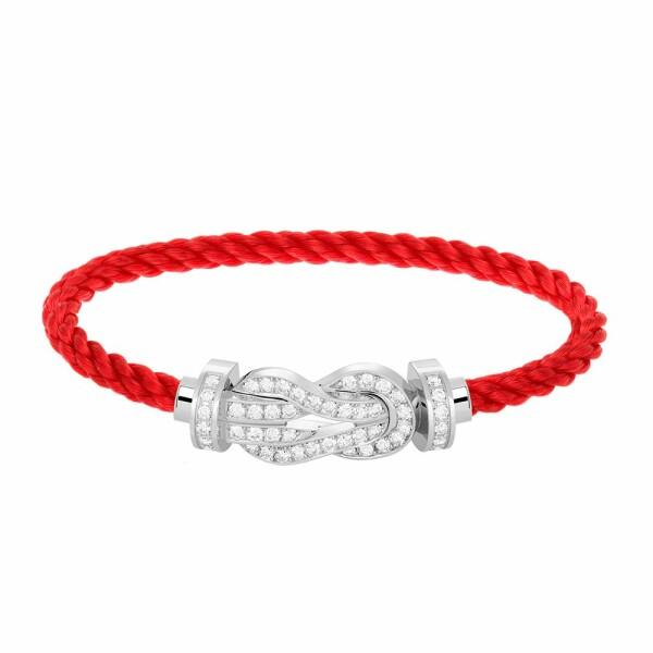 Bracelet FRED 8°0 grand modèle boucle en or blanc, diamants et câble en corderie rouge