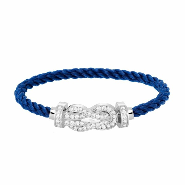 Bracelet FRED 8°0 grand modèle boucle en or blanc, diamants et câble en corderie bleu indigo