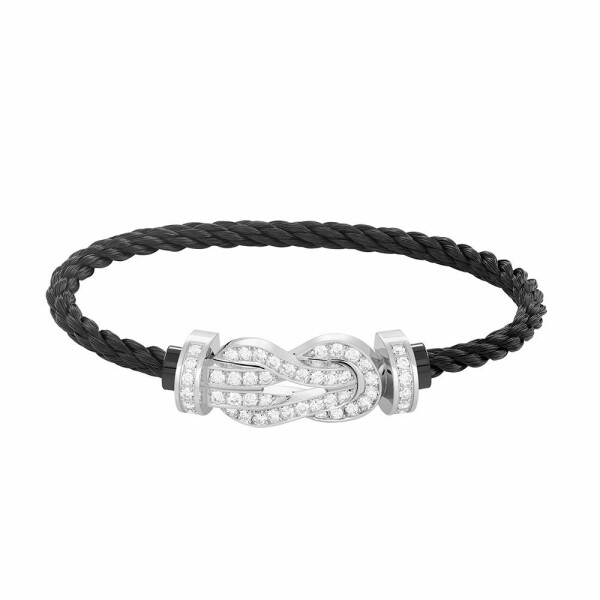 Bracelet FRED 8°0 grand modèle boucle en or blanc, diamants et câble en acier noir