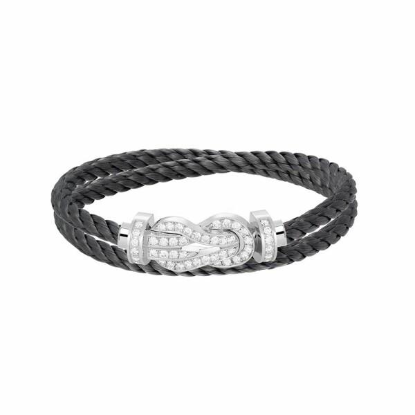 Bracelet FRED 8°0 grand modèle boucle en or blanc, diamants et câble en acier gris orage