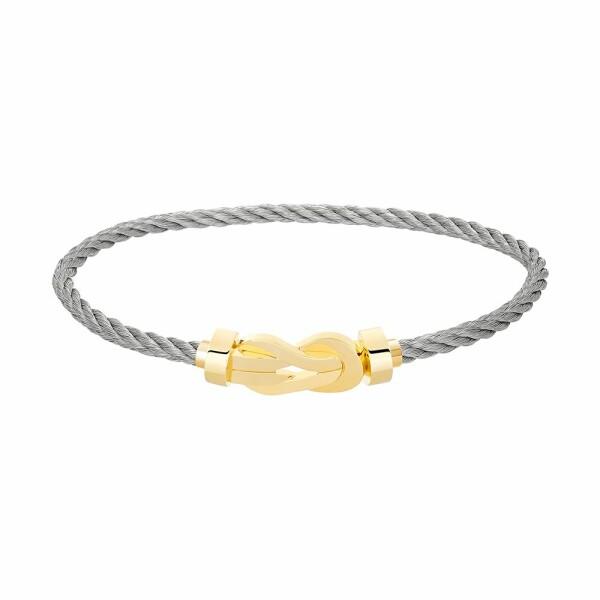 Bracelet FRED 8°0 moyen modèle manille en or jaune et câble en acier