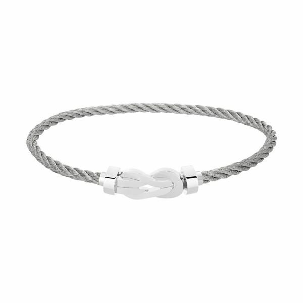 Bracelet FRED 8°0 moyen modèle manille en or blanc et câble en acier
