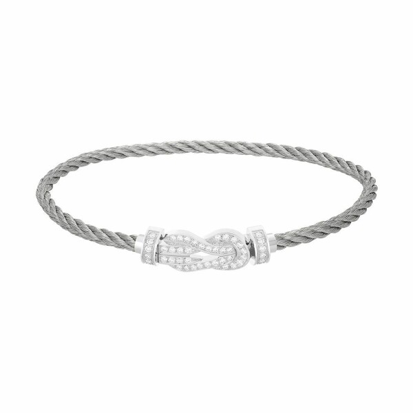 Bracelet FRED 8°0 moyen modèle boucle en or blanc, diamants et câble en acier