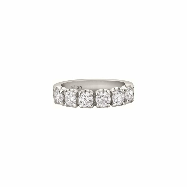 Demi Alliance CR  diamants taille brillant en or blanc palladié