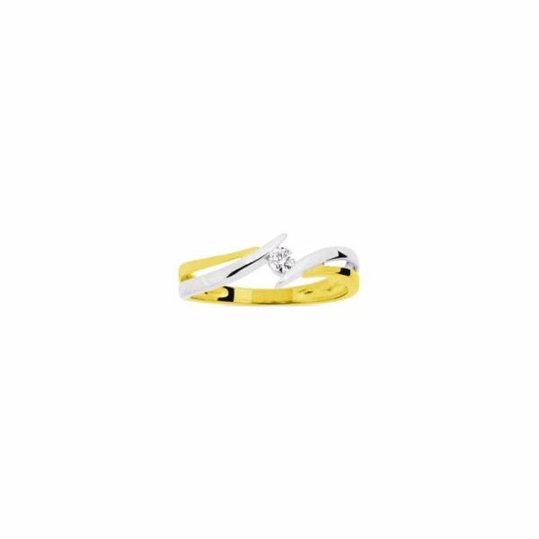 Bague en or jaune, or blanc et diamants de 0.07ct