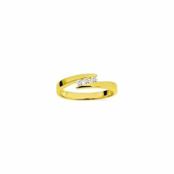 Bague en or jaune et diamants de 0.12ct