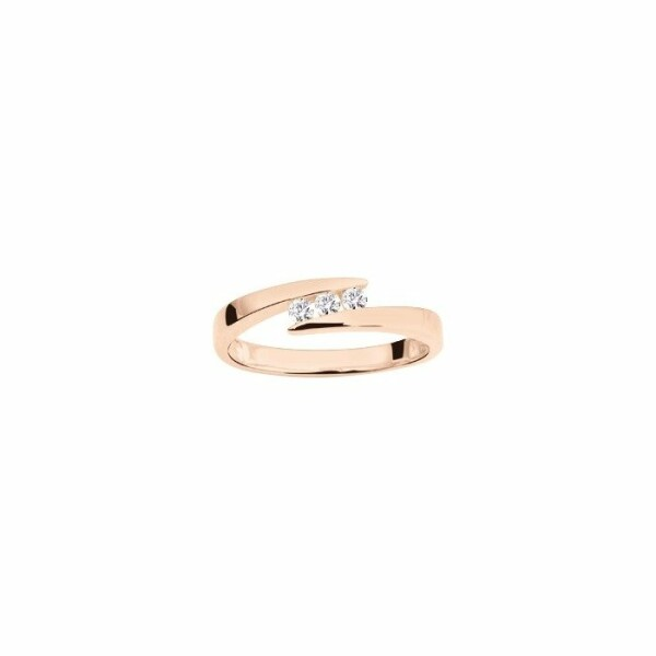 Bague en or rose et diamants de 0.12ct