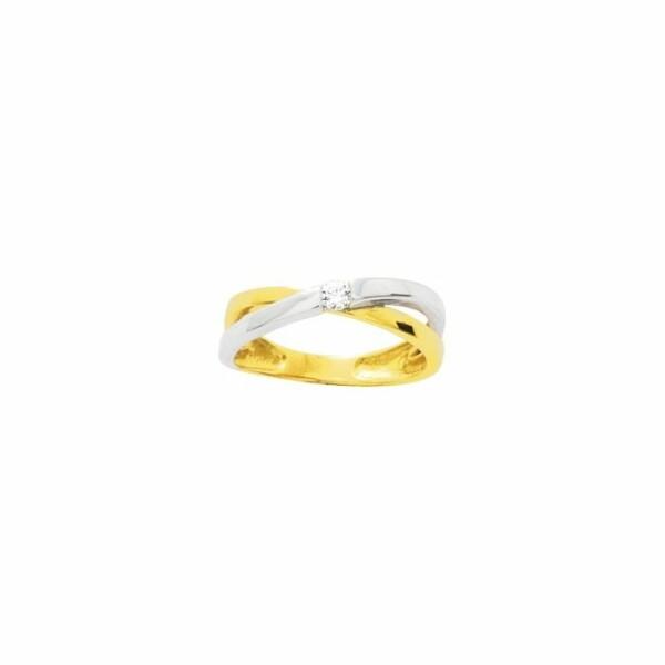 Bague en or jaune, or blanc et oxydes de zirconium