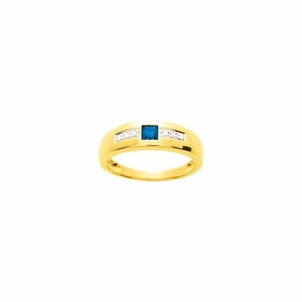 Bague en or jaune, diamants de 0.03ct et saphir de 0.28ct