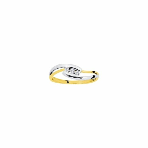 Bague en or jaune, or blanc et diamants de 0.10ct