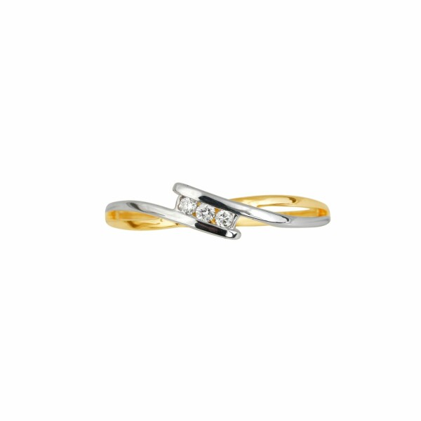 Bague en or jaune, or blanc et diamants de 0.08ct