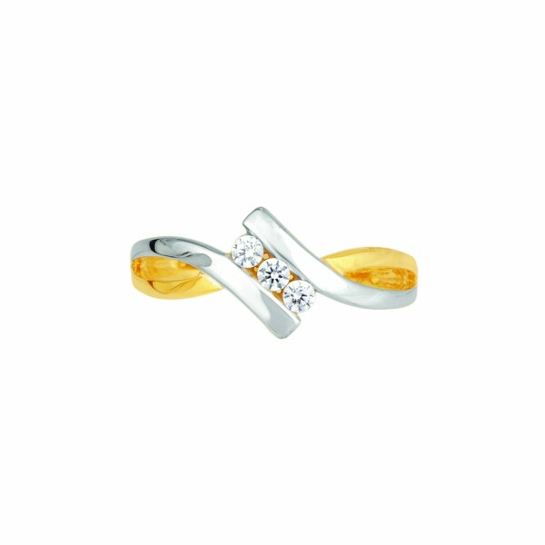 Bague en or jaune, or blanc et diamants de 0.15ct