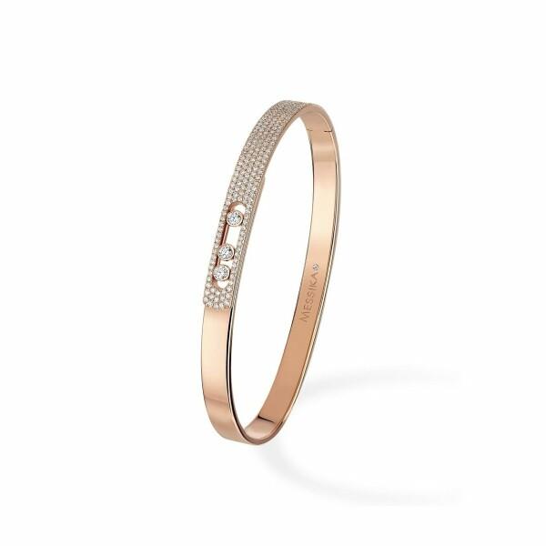 Bracelet bangle Messika Move Noa pavé en or rose et diamants