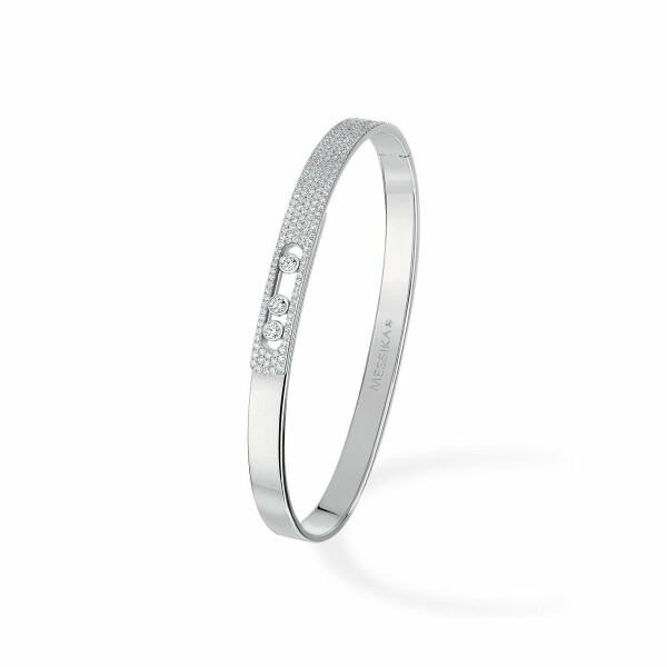 Bracelet bangle Messika Move Noa pavé en or blanc et diamants