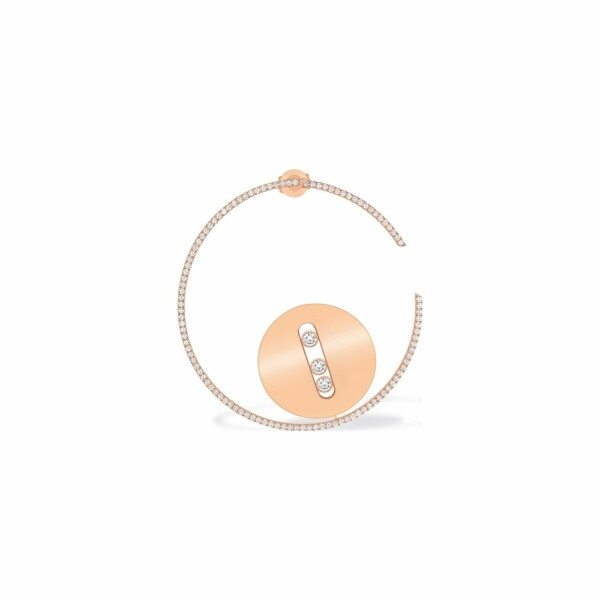 Mono boucle d'oreille Messika Lucky Move en or rose et diamants