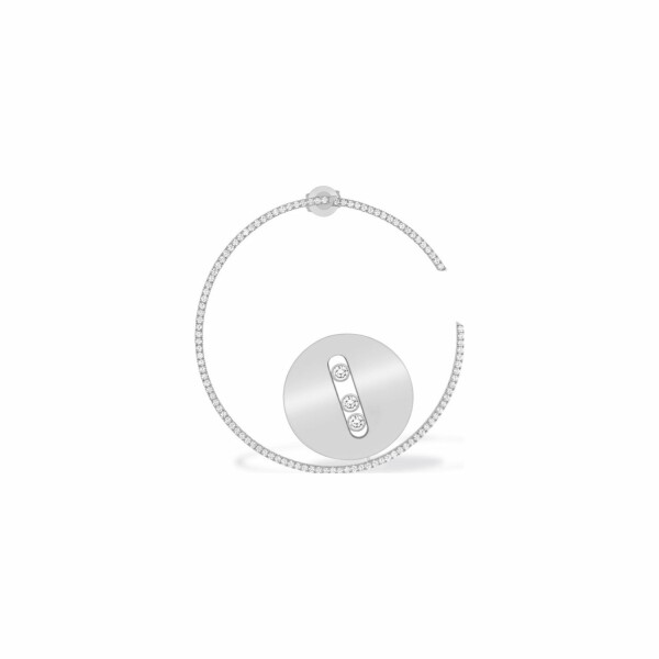 Mono boucle d'oreille Messika Lucky Move en or blanc et diamants