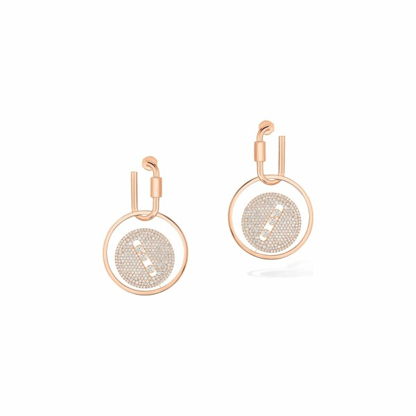 Boucles d'oreilles mousqueton Messika Lucky Move en or rose et diamants