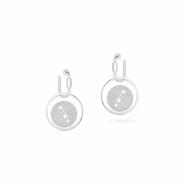 Boucles d'oreilles mousqueton Messika Lucky Move en or blanc et diamants