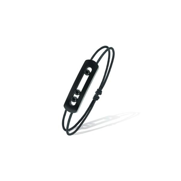 Bracelet sur cordon Messika Move Titanium en titane noir et diamants