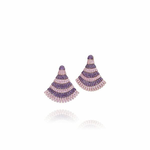 Boucles d'oreilles de GRISOGONO Ventaglio en or rose et saphirs roses