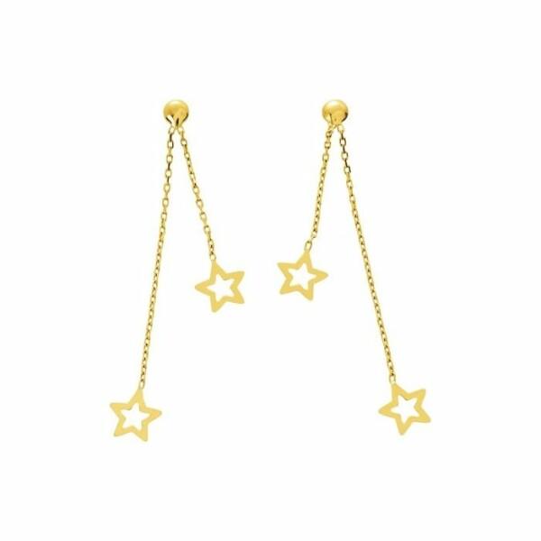 Boucles d'oreilles pendants étoiles en or jaune