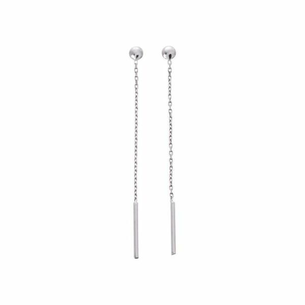Boucles d'oreilles pendantes en or blanc