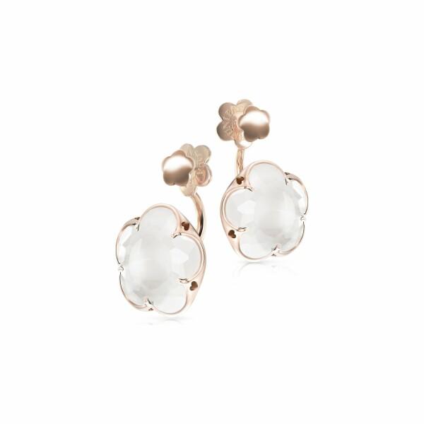 Boucles d'oreilles Pasquale Bruni Bon Ton en or rose et quartz blanc laiteux