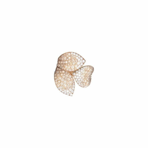Bague Pasquale Bruni Giardini Segreti en or rose, diamants bruns et blancs